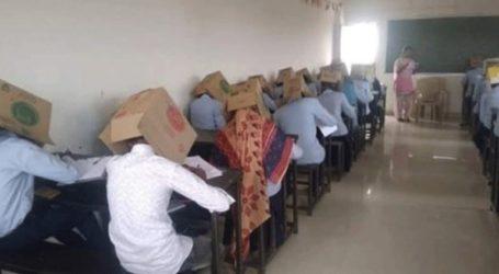 Μαθητές έδωσαν εξετάσεις φορώντας χαρτόκουτα στα κεφάλια τους για να μην αντιγράψουν