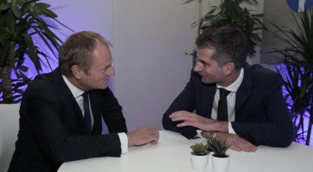 Συνάντηση Μπακογιάννη με τον πρόεδρο του Ευρωπαϊκού Συμβουλίου, Ντόναλτ Τούσκ