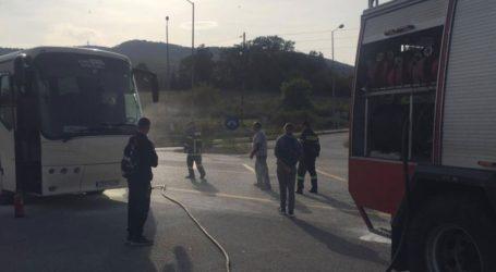 Φωτιά σε λεωφορείο του ΚΤΕΛ στο δρομολόγιο Θεσσαλονίκη