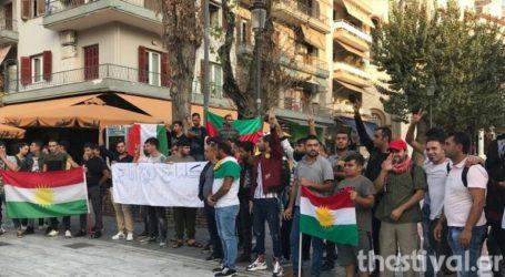 Συγκέντρωση Κούρδων ενάντια στην τουρκική εισβολή στη Συρία