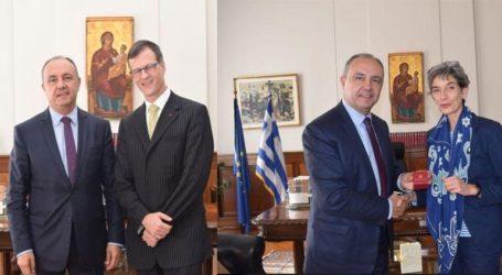 Συνάντηση Καράογλου με τους Πρέσβεις του Καναδά και της Μ. Βρετανίας
