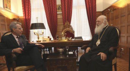 Συνάντηση του Αρχιεπισκόπου Ιερώνυμου με τον πρέσβη των ΗΠΑ Τζέφρι Πάιατ