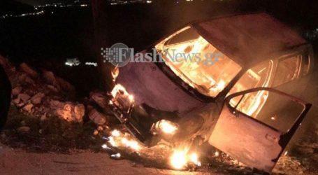 Οδηγός γλύτωσε από το φλεγόμενο όχημά του
