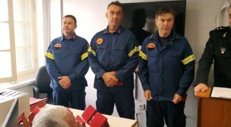 Βραβεύτηκαν τρεις Βολιώτες πυροσβέστες που έσωσαν ηλικιωμένη γυναίκα