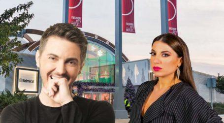 Ο Μιχάλης Χατζηγιάννης και η Μελίνα Μακρή στο άναμμα του Χριστουγεννιάτικου δέντρου στο Fashion City Outlet