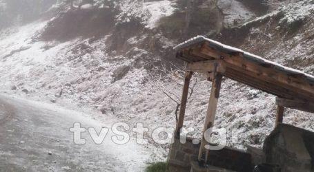 Έπεσε το πρώτο χιόνι και στη Φθιώτιδα