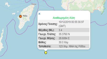 Σεισμική δόνηση 3,4R σε θαλάσσια περιοχή ανοιχτά της Ρόδου