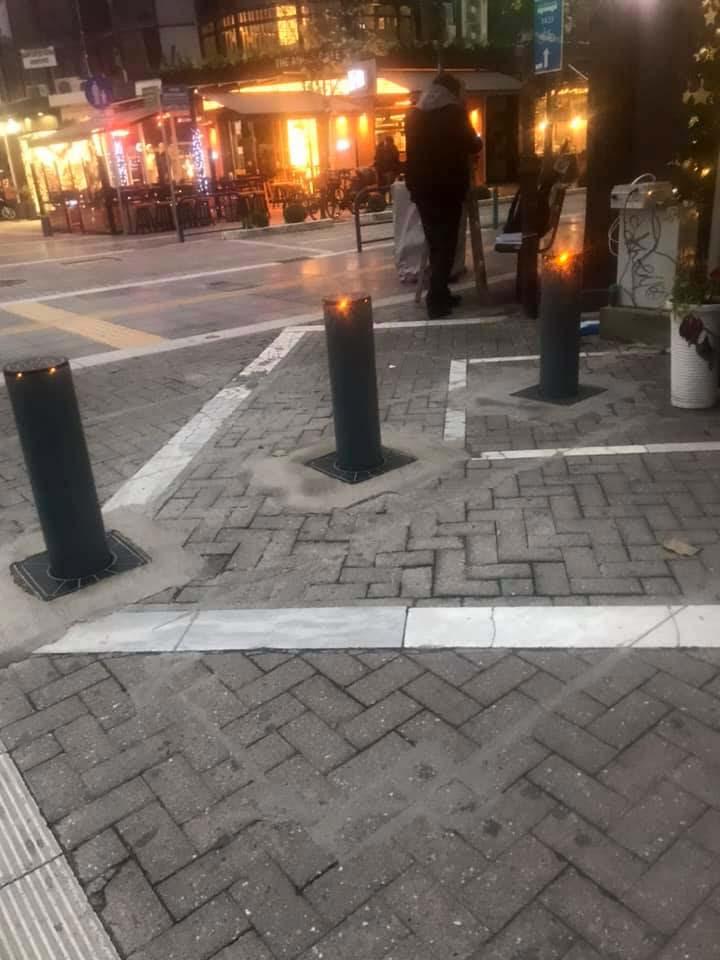 Πρόβα τζενεράλε για τις μπάρες στους πεζοδρόμους στο κέντρο της Λάρισας (φωτό - video)