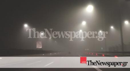 ΤΩΡΑ: Ορατότης μηδέν – Πυκνή ομίχλη στο οδικό δίκτυο της Μαγνησίας [εικόνες]