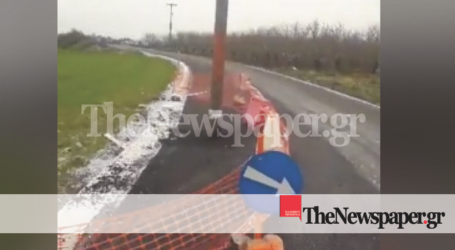 Απίστευτη εικόνα στη Μαγνησία: Τοποθέτησαν κολόνα της ΔΕΗ στη μέση του δρόμου