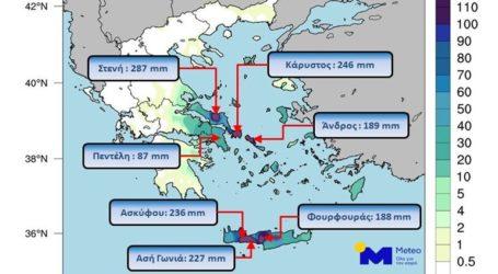 Σε Εύβοια και Κρήτη οι περισσότερες βροχοπτώσεις του τριημέρου