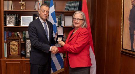Συνάντηση του ΥΦΕΘΑ Αλκιβιάδη Στεφανή με την Πρέσβη της Αυστρίας Ερμίνα Πόπελερ