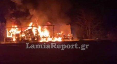 Φωτιά σε φορτηγό στην Ε.Ο. Αθηνών – Λαμίας