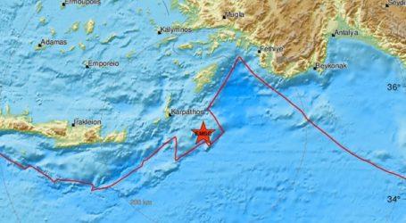 Ισχυρή σεισμική δόνηση ανοιχτά της Καρπάθου