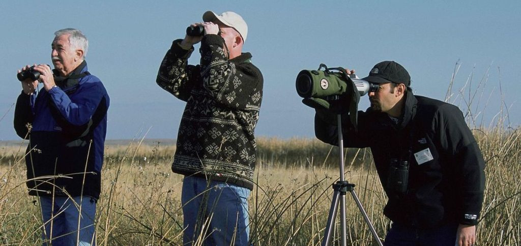 A group of men stand birdwatching