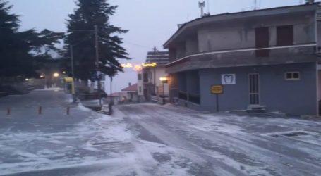 Με -3 βαθμούς και ελαφριά χιονόπτωση το Λιβάδι Ελασσόνας (βίντεο)