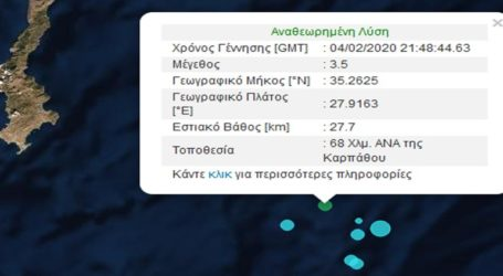 Σεισμική δόνηση 3,5R νοτιοανατολικά της Καρπάθου