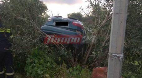 """Αυτοκίνητο """"απογειώθηκε"""" στην Πατρών-Πύργου – Επέβαινε οικογένεια"""