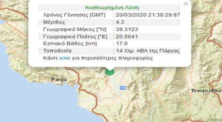 Σεισμική δόνηση 4,3R βορειοανατολικά της Πάργας