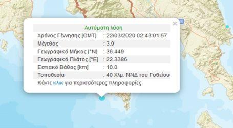 Σεισμική δόνηση 3,9R νοτιοδυτικά του Γυθείου
