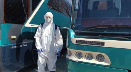 Απολύμανση των λεωφορείων και του σταθμού του Υπεραστικού ΚΤΕΛ Λάρισας (φωτο)