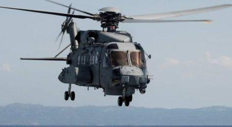 Ελικόπτερο του Πολεμικού Ναυτικού στις έρευνες για τον εντοπισμό των επιβαινόντων καναδικού ελικοπτέρου που κατέπεσε