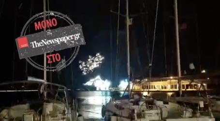 ΤΩΡΑ: «Μυστήρια» πυροτεχνήματα στο λιμάνι του Βόλου – Τι διερευνά το Λιμεναρχείο [βίντεο]