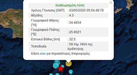 Σεισμός 4,3 Ρίχτερ στην Ιεράπετρα