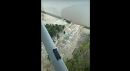 Το σπασμένο φράγμα της λίμνης Wixom από ψηλά