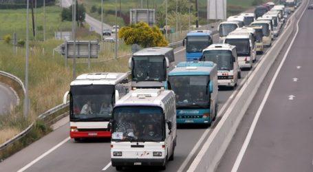 Πομπή τουριστικών λεωφορείων στο κέντρο του Βόλου – Διαμαρτυρία για τα μέτρα στήριξης
