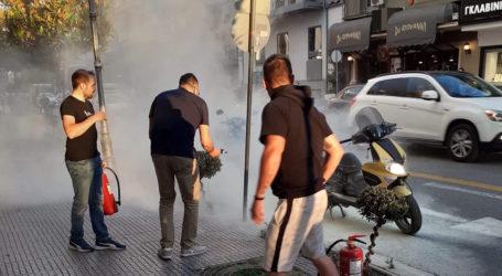 Βόλος: Φωτιά σε μηχανάκι στη Δημητριάδος