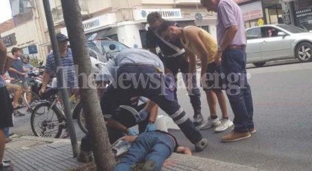 ΤΩΡΑ: Παράσυρση πεζού από μηχανάκι στον Βόλο – Ένας τραυματίας [εικόνες]