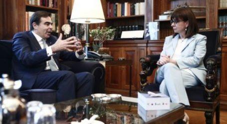 Συνάντηση της Προέδρου της Δημοκρατίας με τοναντιπρόεδρο της Ευρωπαϊκής Επιτροπής, Μαργαρίτη Σχοινά