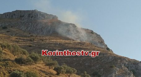 Μαίνεται η πυρκαγιά στο κάστρο της Αρχαίας Κορίνθου