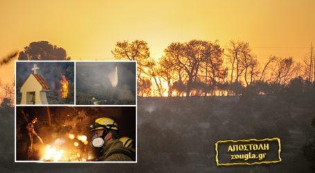 Συνεχίζεται η μάχη των πυροσβεστών στην Κορινθία