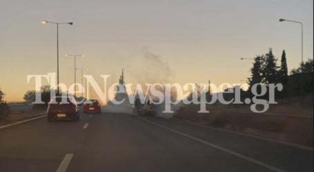 Βόλος: Στις φλόγες παραδόθηκε ΙΧ στην οδό Λαρίσης [εικόνα]
