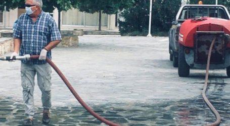 Στην απολύμανση όλων των κοινόχρηστων χώρων στο Συκούριο προχώρησε ο δήμος Τεμπών (φωτο)