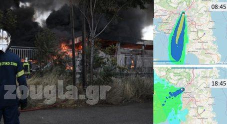 Πως κινήθηκε το νέφος της πυρκαγιάς πάνω από την Αθήνα