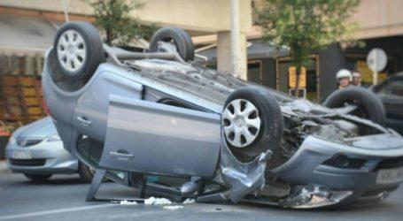 Αυτοκίνητο τούμπαρε στη Λάρισα – Άγιο είχε ο οδηγός