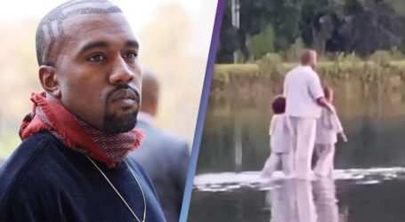 Kanye West: «Περπάτησε στο νερό» μαζί με τα παιδιά του σε κυριακάτικη λειτουργία