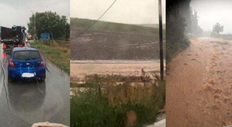 """""""Κόπηκε"""" στα δύο ο δρόμος Φαρσάλων – Βόλου: Εγκλωβίστηκαν διερχόμενα οχήματα (φωτό)"""