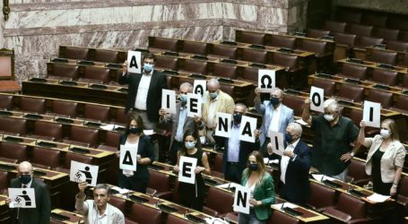 Πλακάτ για τη Χ.Α στη Βουλή από την Παπανάτσιου