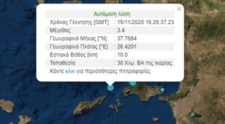 Σεισμός 3,4 Ρίχτερ βορειοανατολικά της Ικαρίας