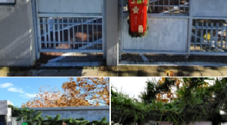 Παιδιά του 3ου Νηπιαγωγείου Λάρισας στολίζουν την πόρτα του κλειστού σχολείου τους