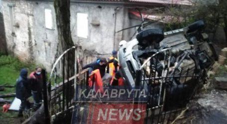 Αμάξι ανατράπηκε και κατέληξε σε αυλή σπιτιού