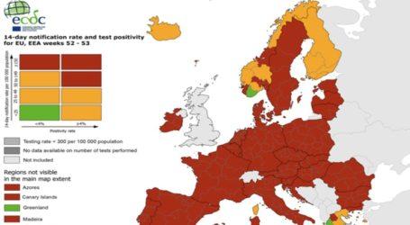Μόνο ελληνικές οι «πράσινες» περιοχές της ΕΕ στον ευρωπαϊκό χάρτη του κορωνοϊού