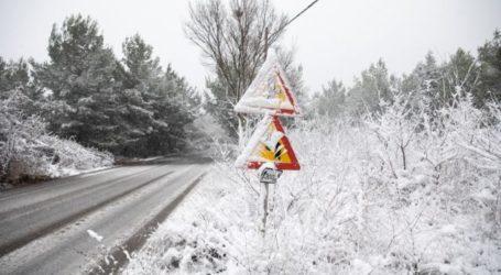 Πυκνή χιονόπτωση στο Ν.Πήλιο – 8 μηχανήματα επιχειρούν για τους δρόμους