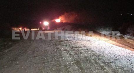 Πυρκαγιές σε δύο μέτωπα στο Αλιβέρι