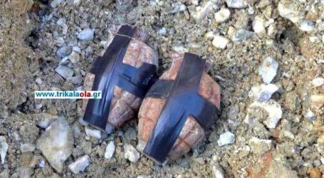 Οι χειροβομβίδες που καταστράφηκαν με ελεγχόμενη έκρηξη στα Τρίκαλα από Πυροτεχνουργούς από τη Λάρισα (βίντεο)