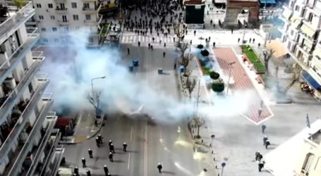 Τα επεισόδια στη Θεσσαλονίκη από το drone της αστυνομίας